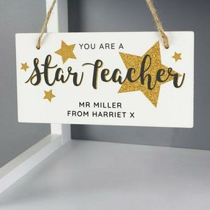 Personalized You Are A Star Teacher Wooden Sign